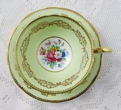 Aynsley Green and Gold Tea Cup and Saucer with Floral Bouquet, Antique Tea Cup, English Bone China