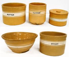 LOT (5) VINTAGE YELLOWWARE BANDED POTTERY BOWLS AND : Lot 382