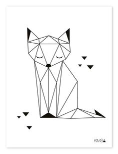 """Nursery Poster """"Origami Fox & # black and white - Kunstunterricht - Shopping Star Wars Origami, Origami Fox, Origami Lamp, Geometric Drawing, Geometric Art, Kindergarten Posters, Harry Potter Poster, Fantasy Rooms, Upcycled Home Decor"""