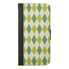 Retro Green Geometric Argyle Pattern iPhone 6/6s Plus Wallet Case - trendy gifts cool gift ideas customize