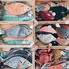 Don Fisher Fabric Fish, Fabric Yarn, Fish Crafts, Cute Crafts, Diy For Kids, Gifts For Kids, Don Fisher, Sewing Crafts, Sewing Projects