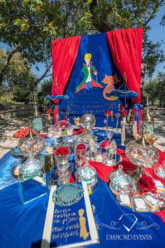 The Little Prince Baptism guest book table in red and blue by Diamond Events Little Prince Party, The Little Prince, Christening Decorations, Guest Book Table, Boy Baptism, Partys, Luxury Wedding, Special Day, Event Planning