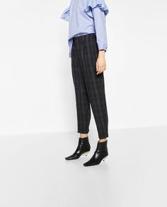 Image 2 of CROPPED CHECKED TROUSERS from Zara