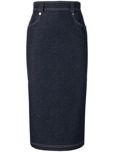 Shop Versace denim midi skirt.