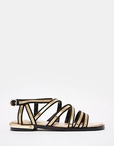River Island Gold Trim Flat Gladiator Sandals