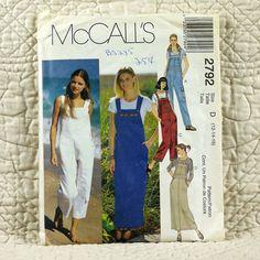 Jumper and Overalls, McCalls 2792 Pattern for Women, FREE SHIP, Bib Front, Shoulder Straps, Side Buttons, 2000 Uncut, Size 12 14 16, 3-oz by DartingDogPatterns on Etsy