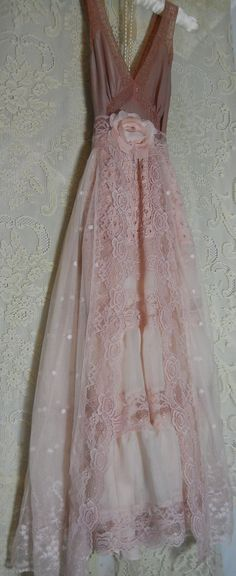 Pink lace dress wedding prom crochet  tiered  by vintageopulence