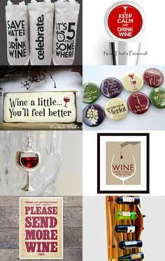 Gear for Winos- Wine is happiness in a glass! So this treasury is for all the wine lovers out there. by smallbookcompany on Etsy--Pinned with TreasuryPin.com
