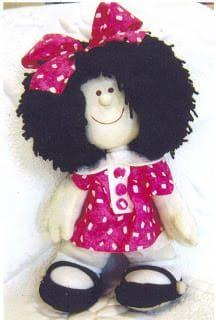 FELTRO MOLDES ARTESANATO EM GERAL: MOLDE MAFALDA Fabric Toys, Fabric Crafts, Polymer Clay Dolls, Sewing Dolls, Doll Clothes, Soft Dolls, Doll Patterns, Clothing Patterns, Doll Toys