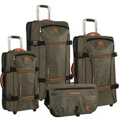 Rugged yet refined, the Timberland Twin Mountain 4 Piece Softside Wheeled Luggage Set is ready to hit the road. This luggage is crafted with durable polyester and both top and side carry handles. Luggage Sets, Travel Luggage, Travel Bags, Luggage Store, Checked Luggage, Fall Trends, Duffel Bag, World Traveler, Briefcase