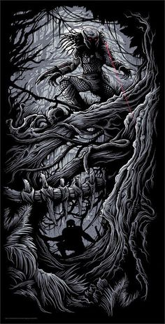 Cool Art: 'Predator' by Dan Mumford Alien Vs Predator, Predator Movie, Predator Alien, Arte Alien, Alien Art, Horror Art, Horror Movies, Aliens, Dan Mumford