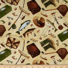 Norman Rockwell Fishing Icons Natural from @fabricdotcom  Designed for Timeless Treasures, this cotton print is perfect for quilting and craft projects as well as apparel and home décor accents. Colors include green, brown, orange, grey and tan on a natural background.