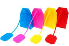 Silicone Colorful Tea Bag Shape Tea Infuser - Loose Leaf Herbal Tea Filter Strainer For Mug Cup - Set Of 4PCS With Varying Bright Colors - Enjoy Your Tea Time