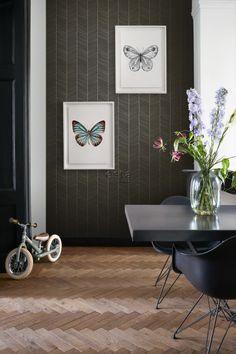 behang visgraat-motief zwart en goud - visgraat behang - behangprints   ESTAhome Paradise, Gallery Wall, Frame, Home Decor, Exotic, Picture Frame, Decoration Home, Room Decor, Frames