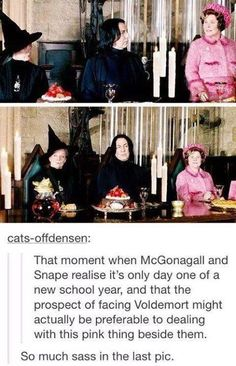 """Hogwarts teachers would much rather face Voldemort than """"that pink thing"""" sitting next to them. Harry Potter World, Harry Potter Films, Harry Potter Universal, Harry Potter Fandom, Harry Potter Tumblr Funny, Lockhart Harry Potter, Sassy Harry Potter, Harry Potter Marauders, Voldemort"""