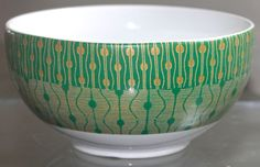 222 FIFTH THEORIE GREEN SOUP/CEREAL BOWL 5 5/8TH INCH NEW GREEN GOLD PORCELAIN #222FIFTH