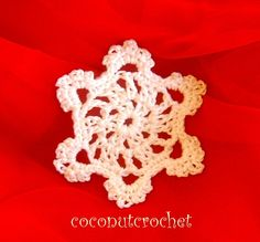 Crocheted Snowflake Ornament 3.5 inches by coconutcrochet on Etsy