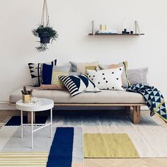 This inviting Kelim Squares Rug was designed for the Danish design brand ferm LIVING.Copenhagen-based ferm LIVING was formed by Trine Andersen in 2005 initially Living Pequeños, Home Living Room, Living Room Decor, Living Spaces, Decor Room, Home Decor, Modern Living, Small Living, Minimalist Living