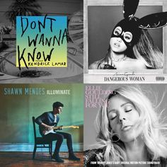 A playlist featuring Ellie Goulding, Ariana Grande, Shawn Mendes, and others