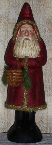 Primitive Belsnickle Santa with Apple Basket