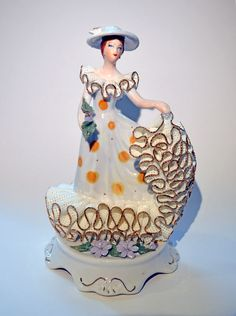 Vintage Transylvanian Porcelain Figurine: Amalia in the Polka Dot Dress
