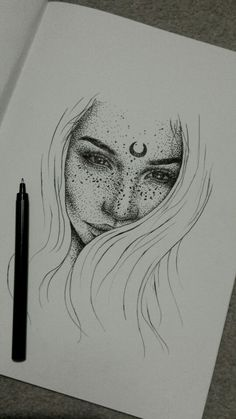 Finished her and im so happy with how she's turned out, I'm in love #art #dotart #dotwork #tattoo #artist #moon #portrait #pen #ink