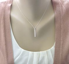 Sterling Silver Bar Necklace  Slice  All Sterling by PinkTwig, $24.00