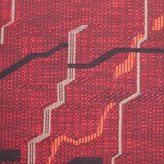 Red/Black Abstract Woven Wool Coating