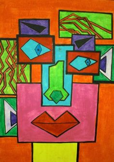 cubism for kids (start with rectangles + each one has a different facial feature)