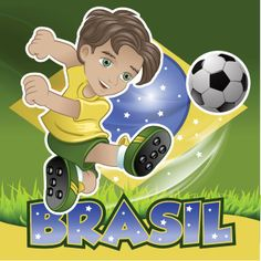 vector Brazil boy is kicking the football flag in background and Typography