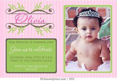 Princess themed birthday invitation