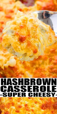 CHEESY HASHBROWN CASSEROLE RECIPE- Quick and easy potato casserole , homemade with simple ingredients in one pot in oven. Rich and creamy. Loaded with shredded potatoes, sour cream, cream cheese, cheddar cheese. Can also add bacon or chicken or sausage or hamburger meat or ham. Enjoy for breakfast or dinner. Better than Cracker Barrel casserole. Fom OnePotRecipes.com #casserole #dinner #onepotmeal #onepotrecipes #hashbrown #potatoes