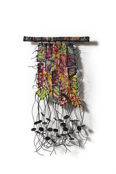 "Deborah Kruger, ""REMNANTS 14"", 2008, 12 x 7 in Fiber, encaustic, oilstick, waxed linen, beads. ""I AM ENCHANTED BY the scraps of fabric that are leftover from creating larger pieces and I just can't bear to throw them out. This ongoing series of smaller work is created entirely by recycling my own materials."""