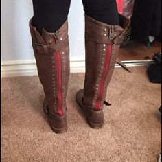 Boots Gorgeous brown leather boots with red stripe zipper Shoes Over the Knee Boots