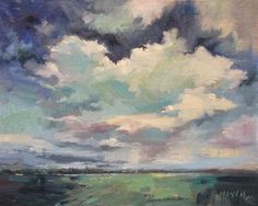 """""""Cyan Sky - reflected color in the clouds"""" - Original Fine Art for Sale - © Mary Maxam"""