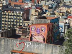 The street art is amazing here in Barcelona , it's not only down on the streets but also on the roof tops.