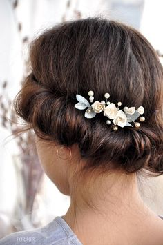 Bridal Hair comb pearls flower Bridal Pearl Comb Flower Ivory Bridal Headpiece…