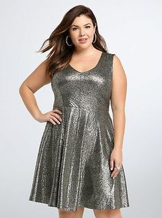 Foiled Textured Skater DressFoiled Textured Skater Dress, GOLD