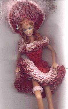 Doll Dress Patterns, Barbie Patterns, Costume Patterns, Knitted Dolls, Crochet Dolls, Crochet Costumes, Manequin, Saloon Girls, Crochet Barbie Clothes