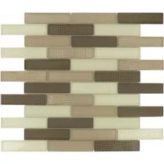 "Yorkshire Tower 1"" x 4"" Brown Glossy & Frosted Glass Tile"