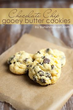 Chocolate Chip Gooey Butter Cookies #desserts #dessertrecipes #yummy #delicious #food #sweet