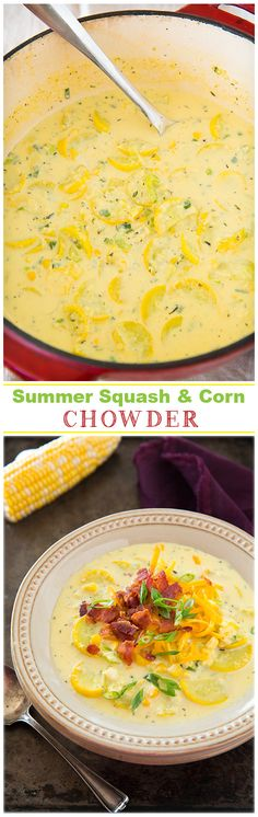 Summer Squash and Corn Chowder - This is so creamy and delicious!!