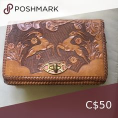 Vintage Tooled Leather Clutch Beautiful vintage tooled leather clutch.  Tooled on front back and sides. Bags Tooled Leather, Leather Tooling, Grey Leather, Leather Clutch, Leather Purses, Clutch Bag, Black Bucket, Guess Purses, Stella And Dot Jewelry