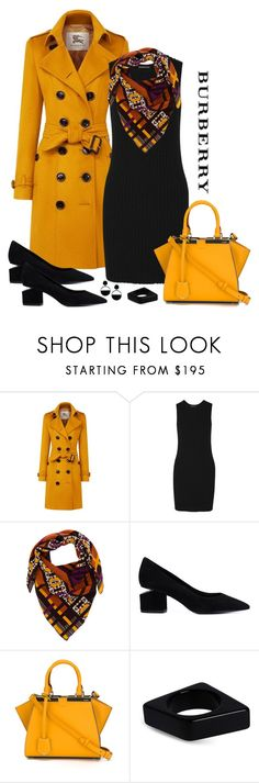"""""""Burberry Sandringham Cashmere Trench Coat Look"""" by romaboots-1 ❤ liked on Polyvore featuring Burberry, James Perse, Taisir Gibreel, Alexander Wang, Fendi and Marni"""