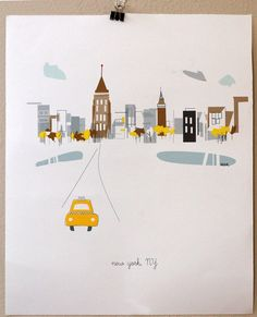 I went to high school with the artist who designed these whimsical city prints.  Hope to have NYC, Portland and Eugene hanging in a hallway someday.