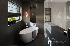 Projekt domu HomeKONCEPT-40 | HomeKONCEPT Bathtub, Bathroom, Black Bathrooms, Home Plans, Plants, Projects, Bath Tube, Bath Tub, Bathrooms