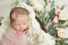 Floral Newborn Session | Newborn Baby Girl Roses Pictures | Newborn Photography Inspiration