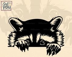 New raccoon digiral file. Great for cricut, cameo, cnc, plasma, die cut. Ecommerce, Animal Silhouette, Silhouette Design, Racoon, Svg Files For Cricut, Clipart, Funny Animals, Wild Animals, Destiny