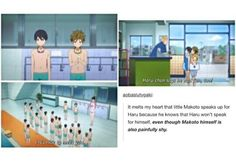 It's so adorable how Makoto speaks up for haru. He knows exactly what haru's thinking. <3