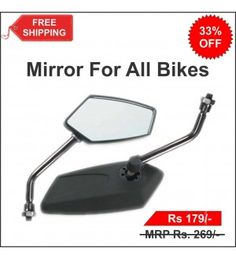 Universal Rear View Mirrors For All Bikes - 2 Nos